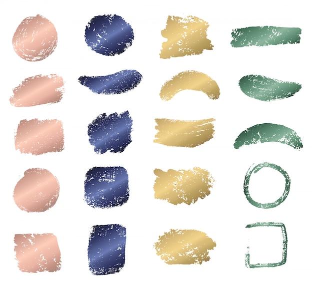 Trazo de pincel grunge con colección de colores metalizados.