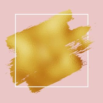 Trazo de pincel de hoja de oro sobre fondo rosa con borde blanco