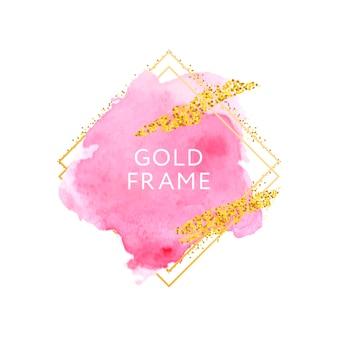 Trazos dibujados a mano acuarela rosa y marco dorado