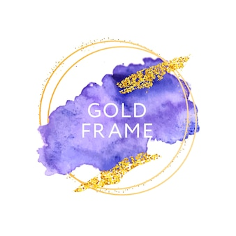Trazos dibujados a mano acuarela violeta y marco dorado