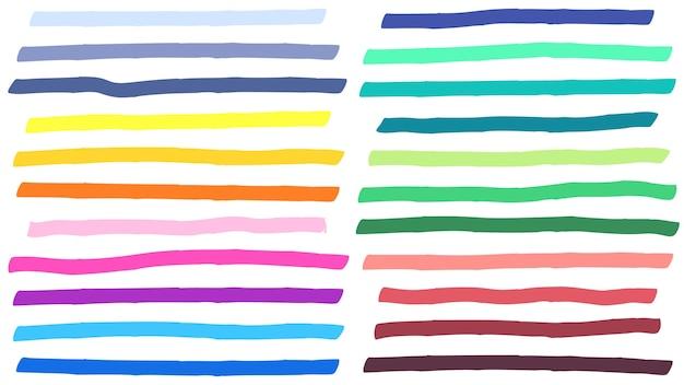 Trazos de líneas de marcador de resaltado de color. destacados coloridos, rayas de marcadores y resaltado de línea amarilla