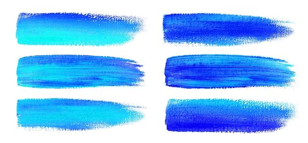 Trazos de pincel acuarela azul. textura de lienzo. cepillo de pintura.