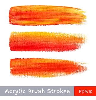 Trazos de pincel de acuarela de colores con textura de lienzo. vector