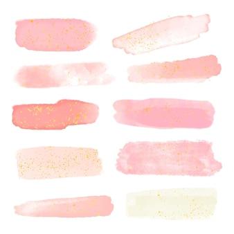 Trazos de pincel con colección de oro y purpurina.