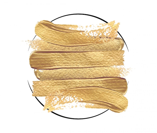Trazos de pincel dorado brillante en un marco redondo sobre un fondo blanco.