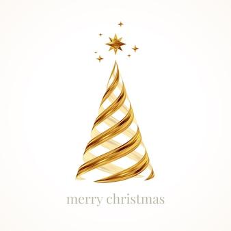 Trazos de pincel dorado en forma de árbol de navidad