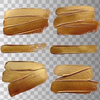 Trazos de pincel efecto oro aislado. resumen de oro brillo textura ilustración vectorial.
