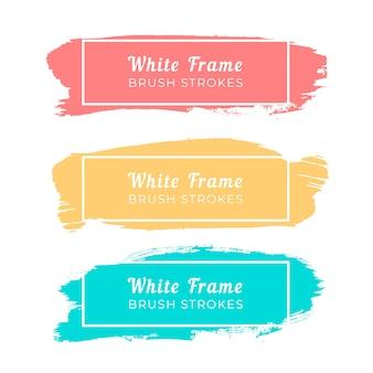 Trazos de pincel de marco blanco