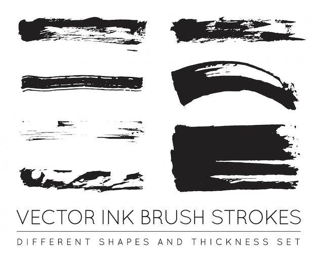 Trazos de pincel de tinta de pluma negra.