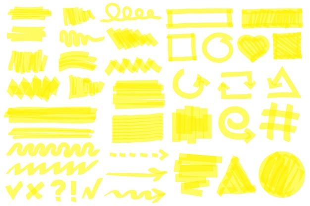 Trazos de resaltador líneas de marcador amarillo flechas marcos círculos marcas de verificación elementos de doodle conjunto de vectores