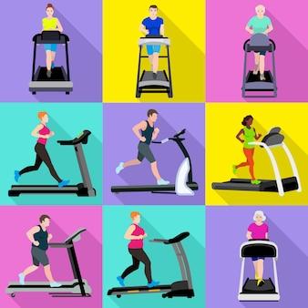 Treadmill personajes hombres y mujeres establecidos. conjunto plano de vector cinta