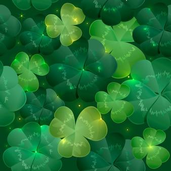 Trébol de hojas verdes y exuberantes