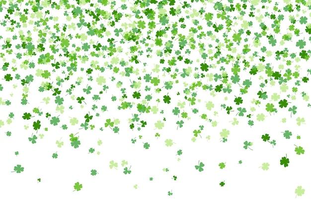 Trébol o trébol deja diseño plano ilustración de vector de patrón de telón de fondo verde