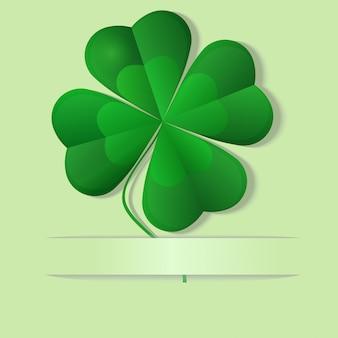 Trébol verde, trébol de cuatro hojas, ilustración vectorial
