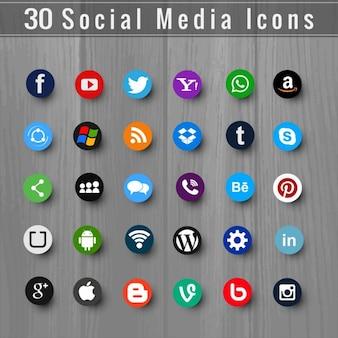 Treinta útiles iconos para redes sociales