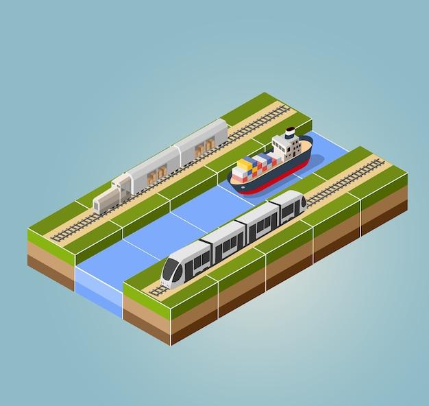 Tren de alta velocidad con buque de carga con un paisaje isométrico.