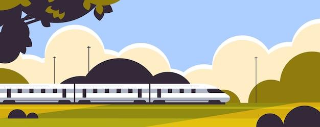 Tren de alta velocidad producto ferroviario envío de mercancías servicio de entrega urgente concepto de fondo del paisaje