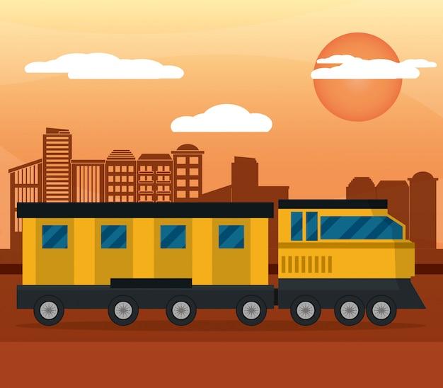 Tren amarillo ciudad puesta de sol