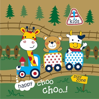 Tren y animales divertidos dibujos animados