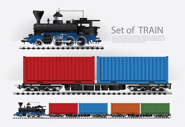 Tren de carga en una carretera de ferrocarril ilustración vectorial