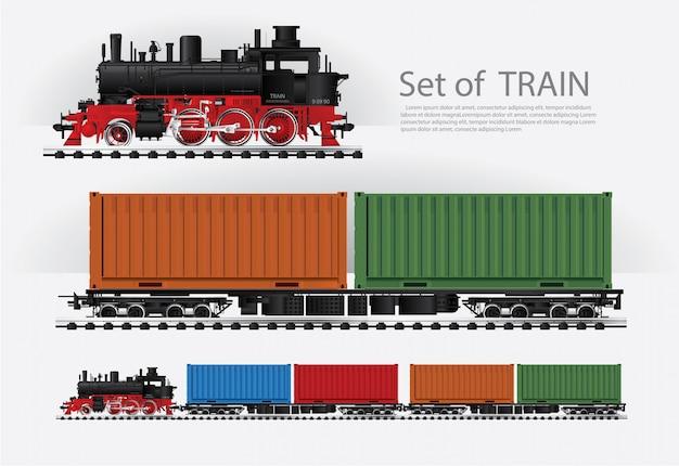 Tren de carga en una ilustración de vector de ferrocarril