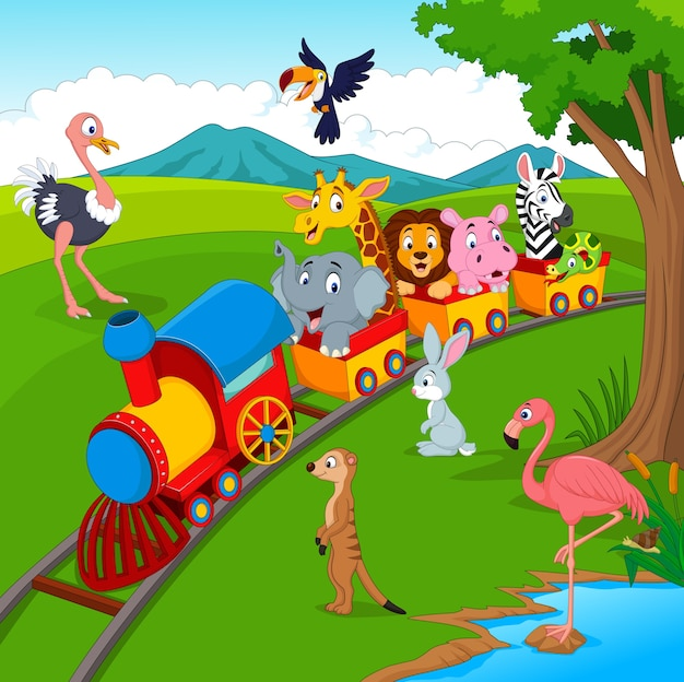 Tren de dibujos animados en el ferrocarril con animales salvajes