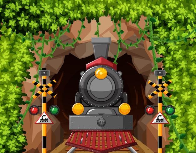 Un tren en escena túnel.