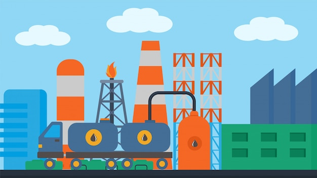 Tren de la estación de aceite, carga en ilustración de ferrocarril. transporte ferroviario cisterna entrega de contenedores, icono de carga locomotora.
