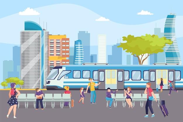 Tren en la estación de metro en metro subterráneo, moderna estación de ferry, ilustración de transporte urbano. ferrocarril en ciudad con pasajeros. estación de metro en paisaje urbano con rascacielos.
