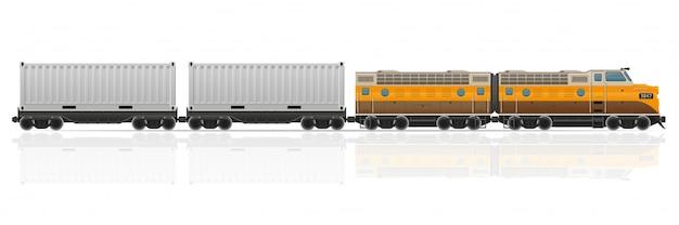Tren ferroviario con locomotora y vagones ilustración vectorial