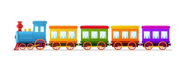Tren de juguete de dibujos animados con vagones de colores sobre fondo blanco.