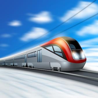 Tren moderno de alta velocidad en movimiento.