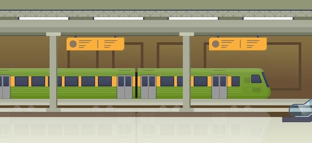 Tren moderno, metro tranvía y estación de tren subterráneo.