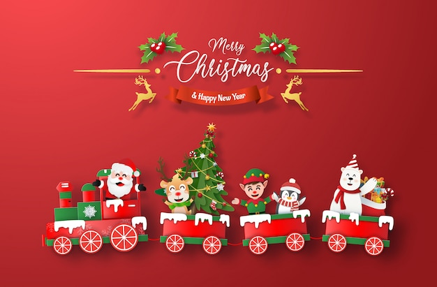 Tren de navidad con santa claus y personaje sobre fondo rojo.