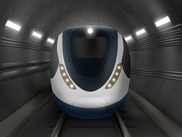Tren o metro, vista frontal, locomotora de metro