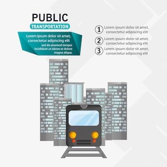 Tren, pasajero, público, transporte, urbano, infographic