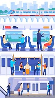 Tren de pasajeros, personas en transporte público ferroviario, ilustración