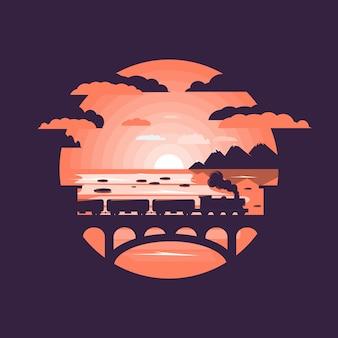 Tren en puente ferroviario