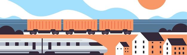 Trenes de alta velocidad y mercancías, productos ferroviarios, envío de mercancías, concepto de servicio de entrega urgente