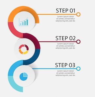 Tres 3 pasos de infografía de negocios con espacio de copia