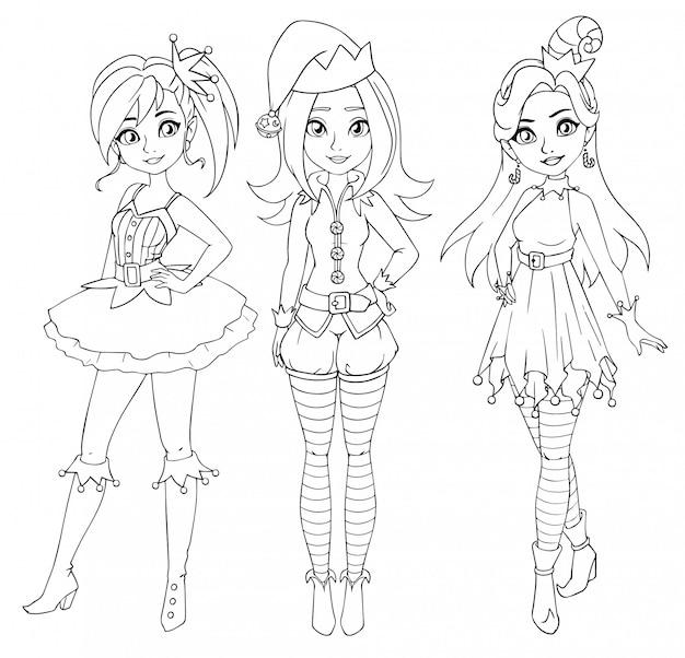 Tres adolescentes con traje de duende de navidad.