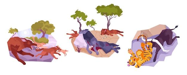 Tres animales con depredadores.