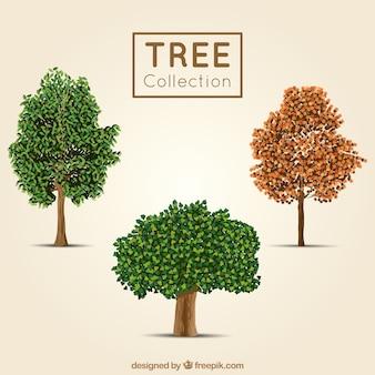 Tres árboles en estilo realista