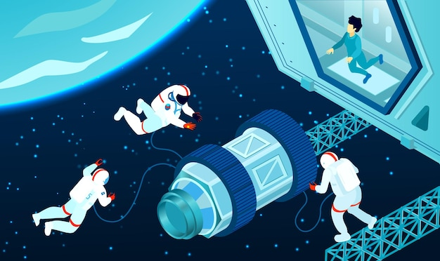 Tres astronautas cerca de la estación cósmica en el espacio exterior isométrico 3d