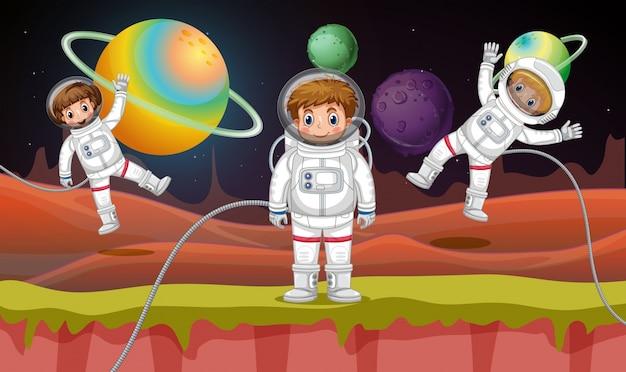 Tres astronautas volando en el espacio