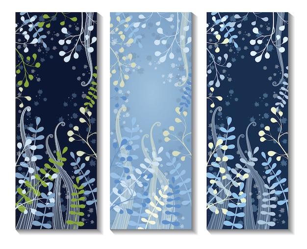 Tres banderas florales verticales. tarjeta de invitación con decoración floral. ramas de hojas doradas sobre un fondo azul oscuro.