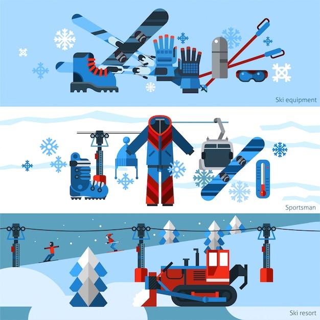 Tres banderas horizontales planas de esquí