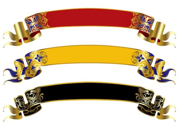 Tres banderas medievales de vector.