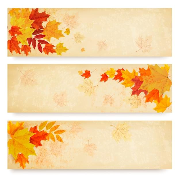 Tres banderas otoñales abstractas con hojas de color.