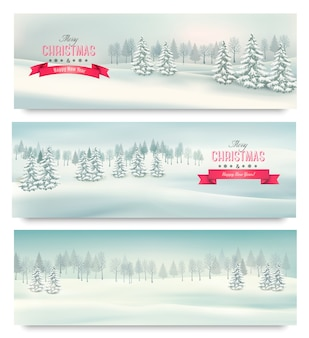 Tres banderas de paisaje navideño.